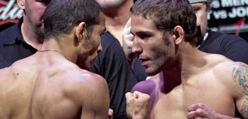 Jose Aldo, left, and Chad Mendes at the