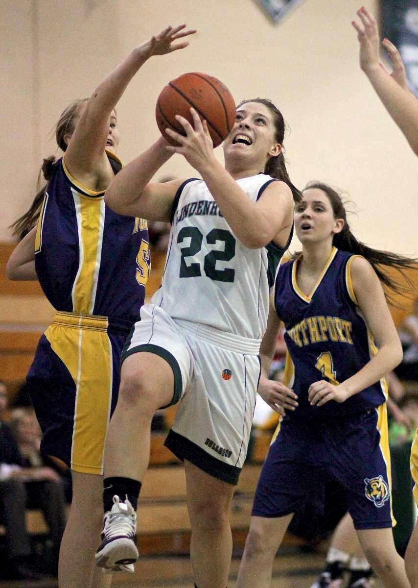 Lindenhurst's Colleen Ames splits the Northport defense with