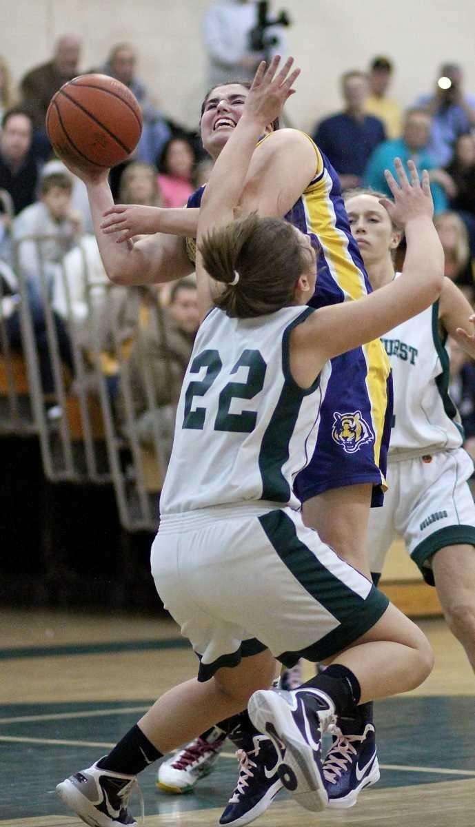 Northport's Allie Clarke collides with Lindenhurst's Colleen Ames