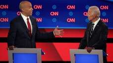 Democratic presidential candidate Sen. Cory Booker speaks Wednesday