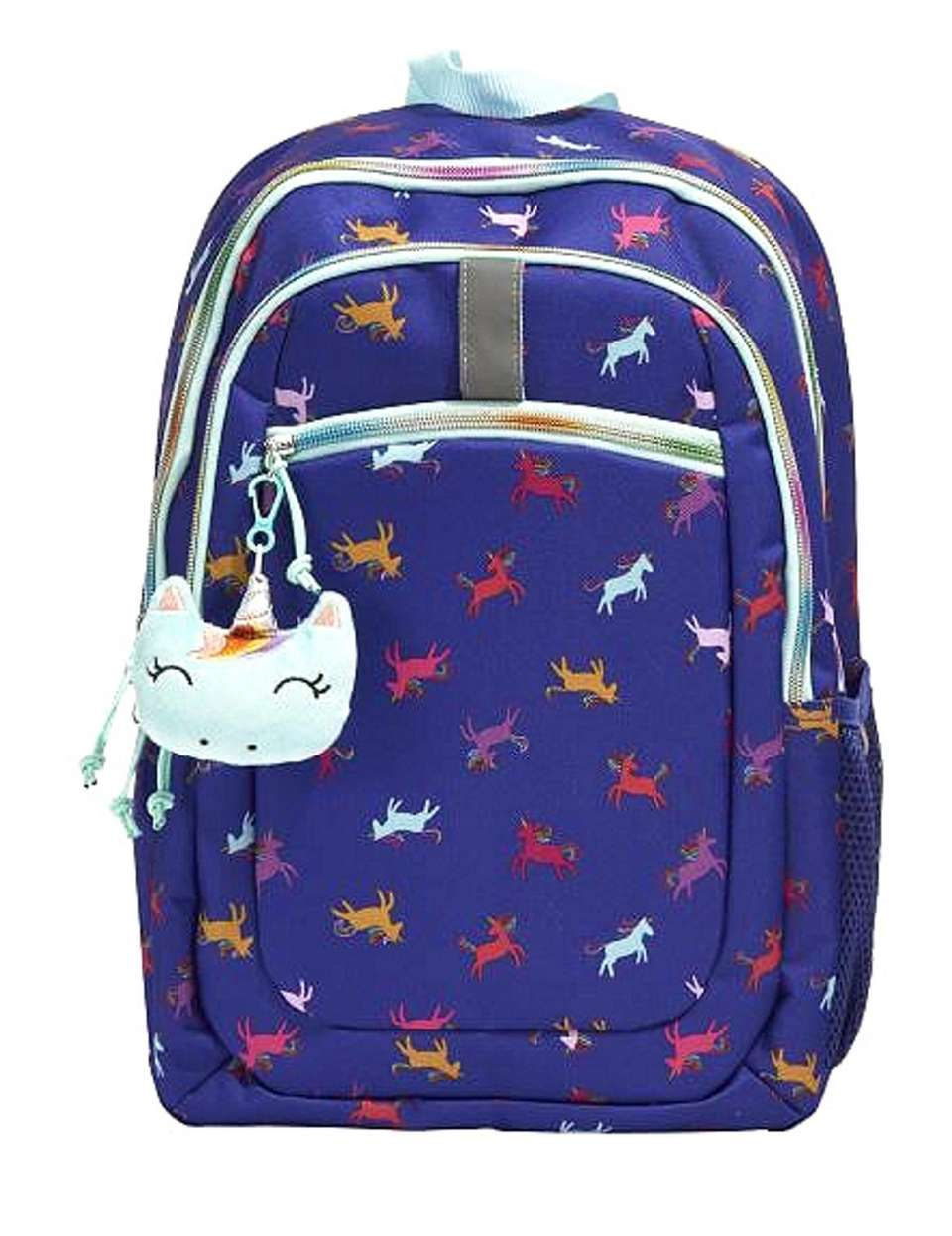 With prancing unicorns dancing all over the bag,