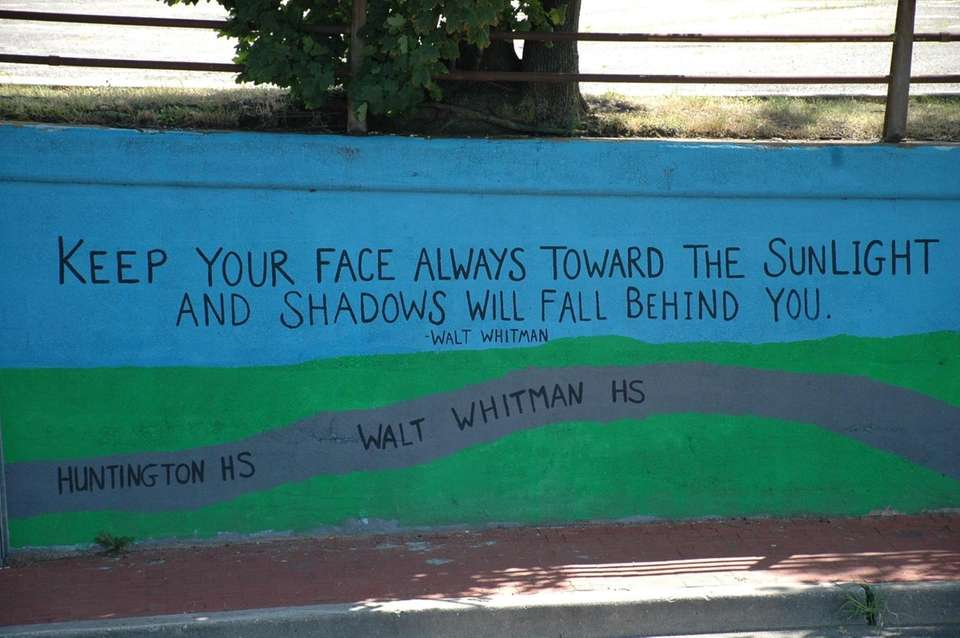Walt Whitman is quoted on a mural located