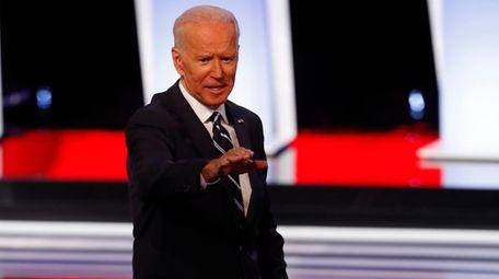 Former Vice President Joe Biden waves after the