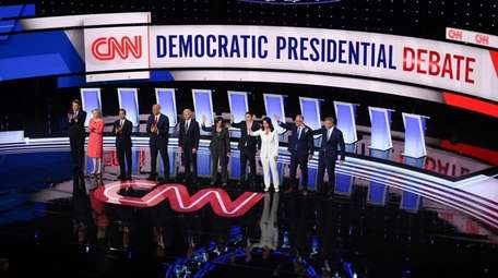 Democratic presidential hopefuls on the stage ahead of