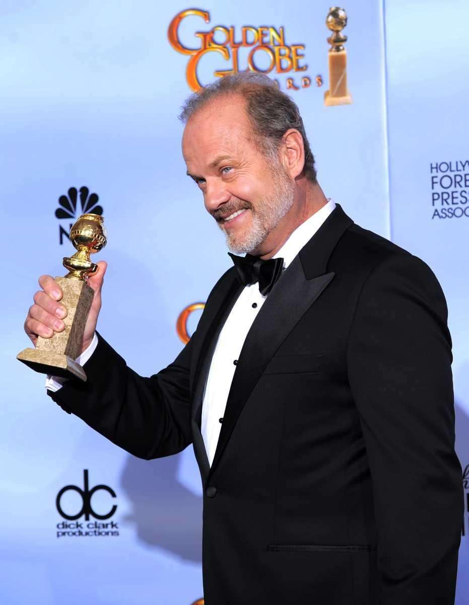 Actor Kelsey Grammer, backstage with his award for