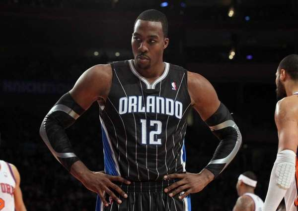 Dwight Howard #12 of the Orlando Magic looks