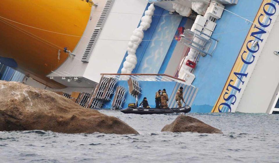The cruise ship Costa Concordia lies stricken off