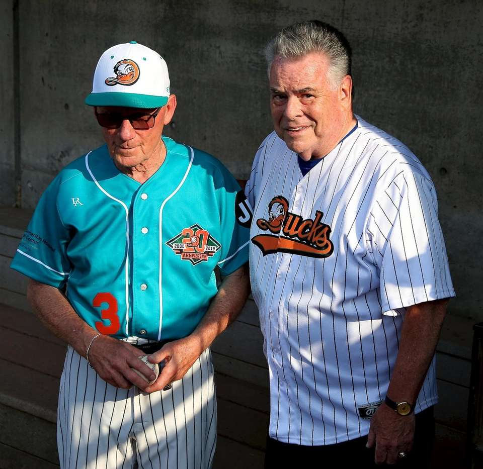 Long Island Ducks Bud Harrelson poses with Congressman
