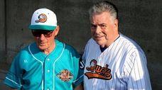 Long Island Ducks Bud Harrelson poses with Congressman
