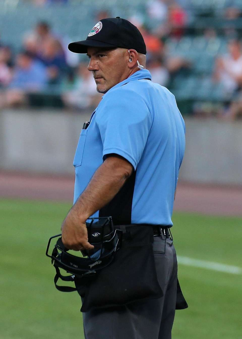 Home plate Umpire Frank Iurilli wears the new
