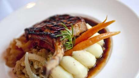 A Berkshire pork chop is served at The
