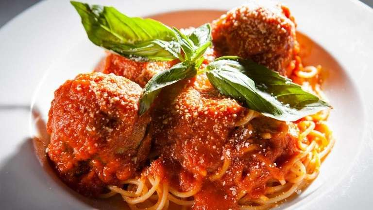 Pasta with meatballs is served at Primo Piatto,