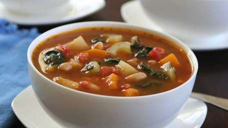 This hearty minestrone soup is made with white