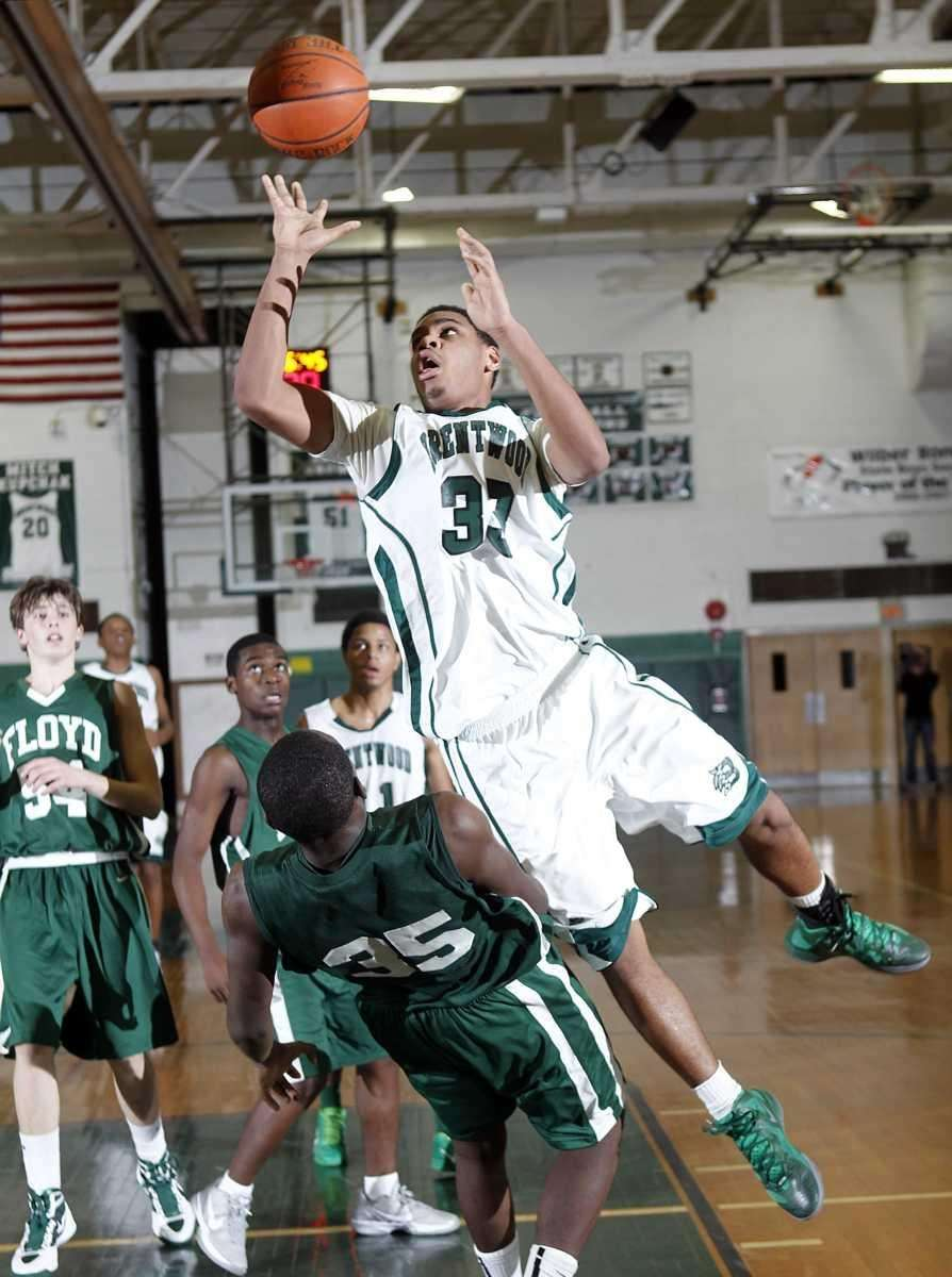Brentwood's Ira Burton (33) is called for the