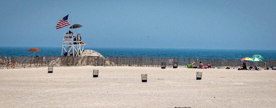 Umbrellas at the shoreline at Jones Beach Wednesday