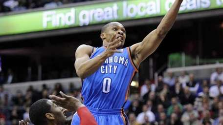 Oklahoma City Thunder guard Russell Westbrook (0) goes
