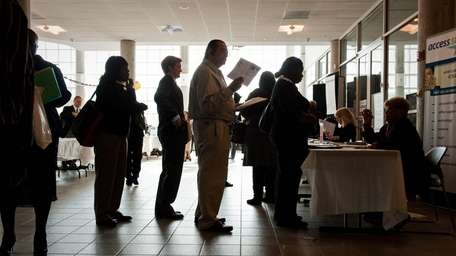 A line at a Nassau jobs fair. (Oct.