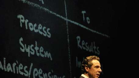 New York State Gov. Andrew Cuomo delivers the