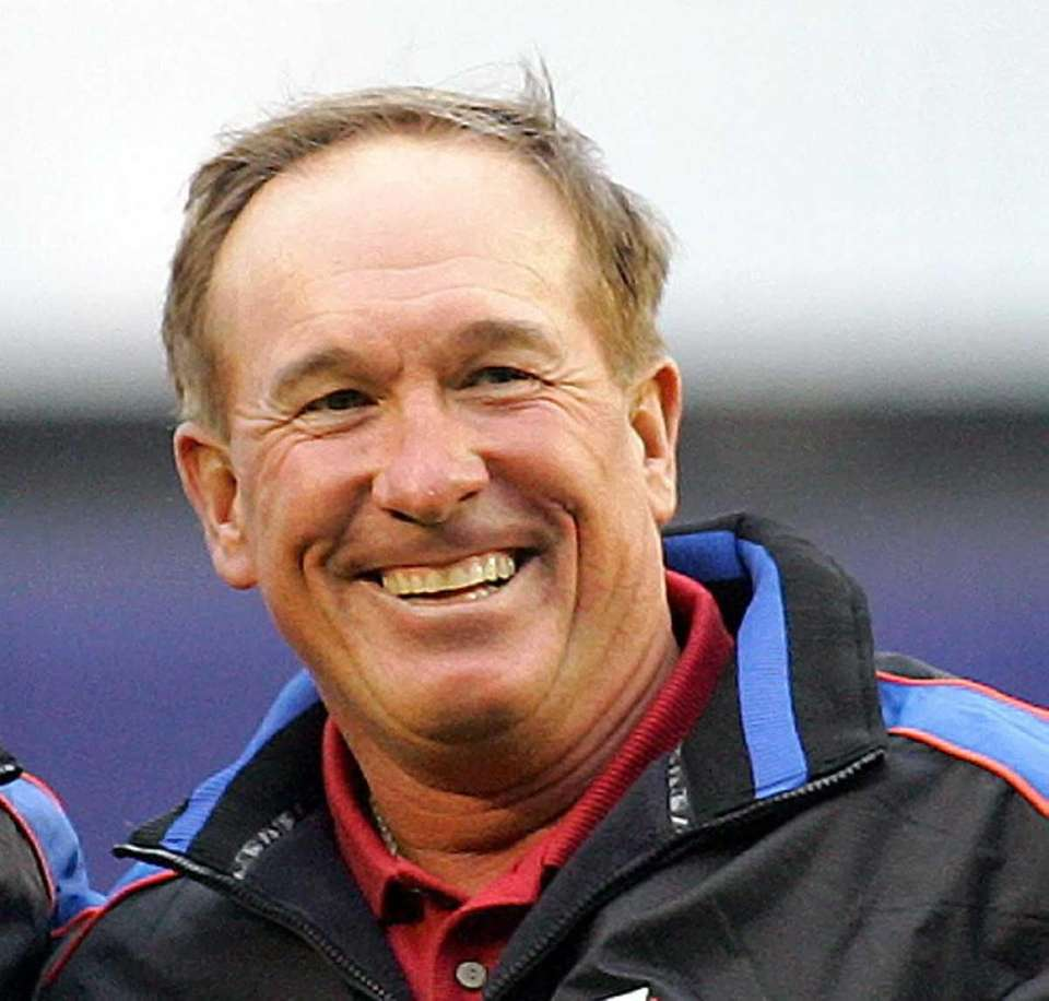 Gary Carter smiles after catching the ceremonial first