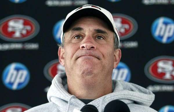 San Francisco 49ers defensive coordinator Vic Fangio speaks