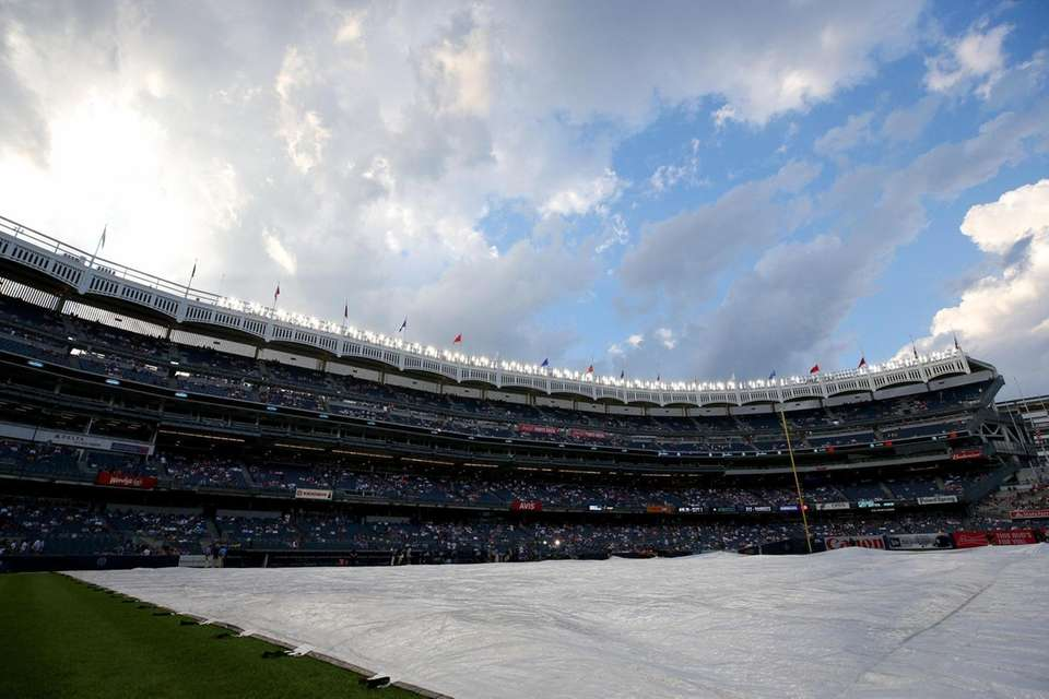 General view of a tarp on the infield