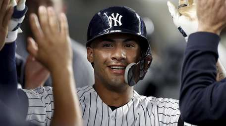 Gleyber Torres #25 of the Yankees celebrates his