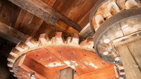 Gears inside the Sylvester Manor windmill on Shelter