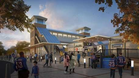 Rendering of the Elmont LIRR station, which is