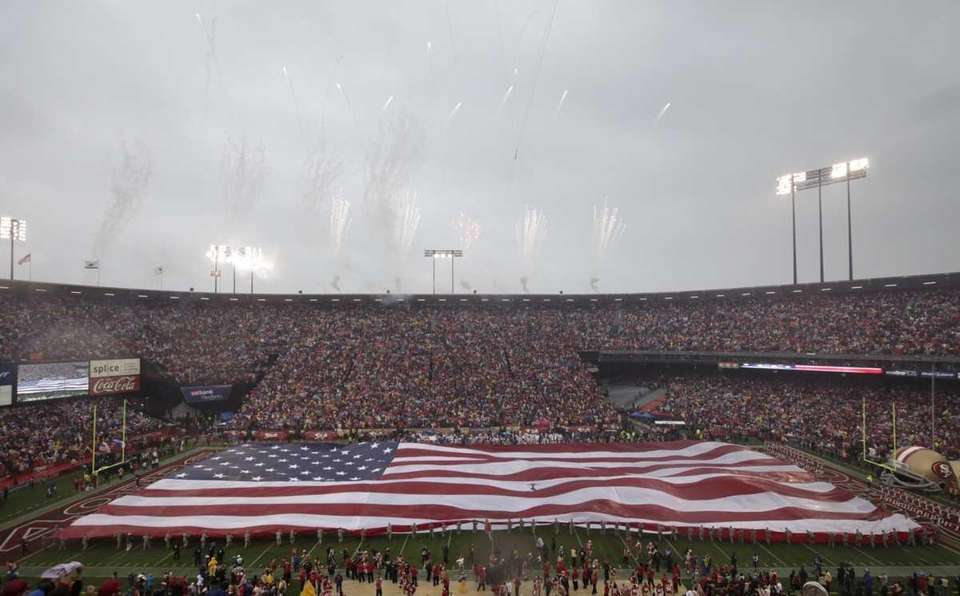 Fireworks are seen over Candlestick Park before the
