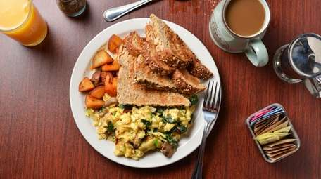 The Garden Gourmet Scramble with roasted zucchini, spinach,