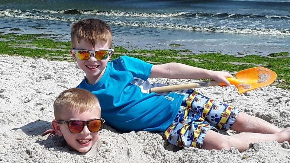 Digging for Buried Treasure! Patrick and Jack having