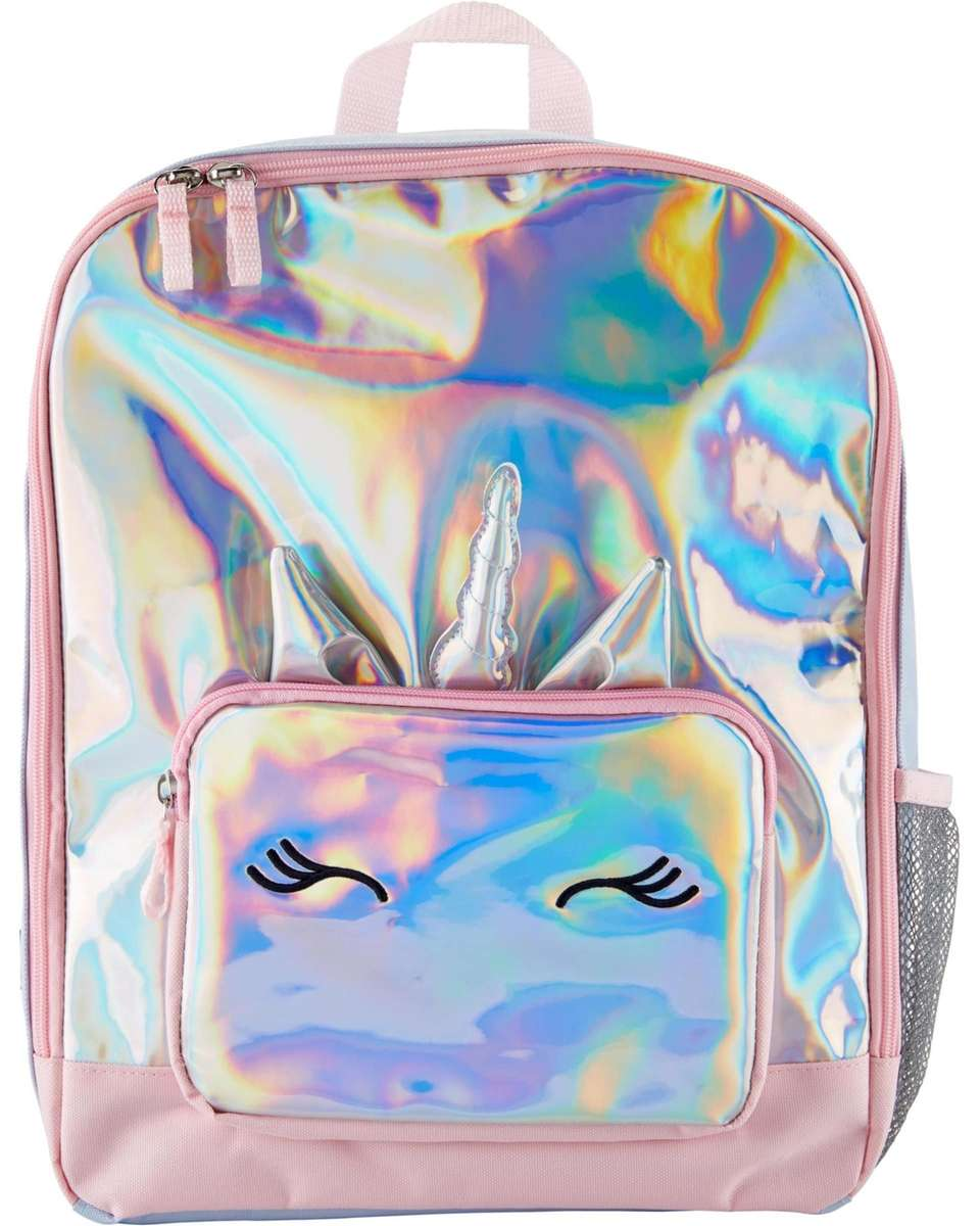 This bag is covered in shiny, holographic fabric