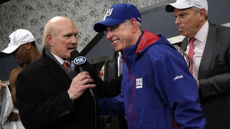 Head coach Tom Coughlin is interviewed by Terry