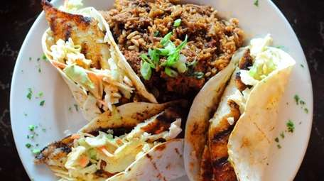 The blackened catfish tacos with jambalaya at Bayou