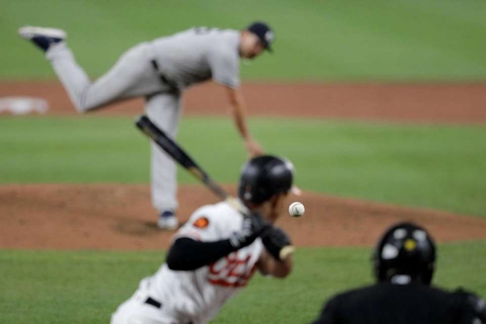 A ball thrown by New York Yankees starting