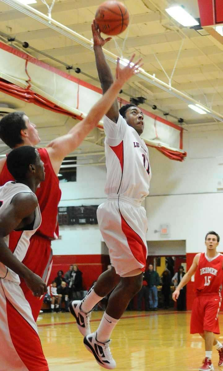Long Island Lutheran High School's Brandon Alford grabs