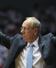 Syracuse head coach Jim Boeheim calls a play