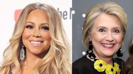 Mariah Carey, seen in 2018, and Hillary Clinton,