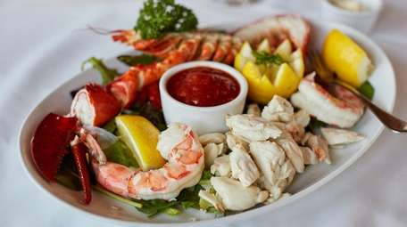 The cold seafood plate with lobster, crab and