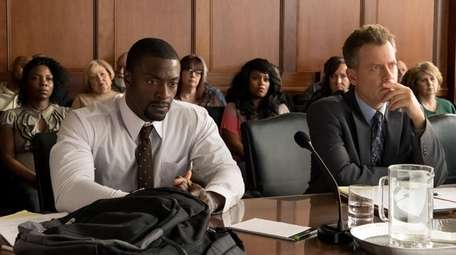 Aldis Hodge, left, as Brian Banks and Greg