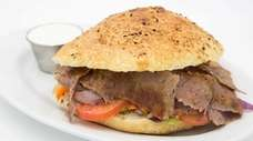 The lamb and beef doner kebab sandwich at