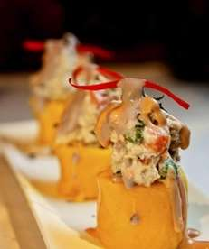 Causa rellena, mashed potatoes stuffed with chicken and