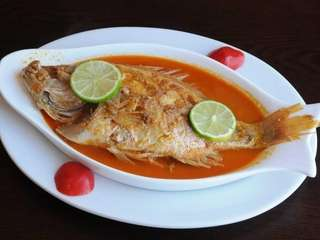 Baked red snapper at the departed La Cocina