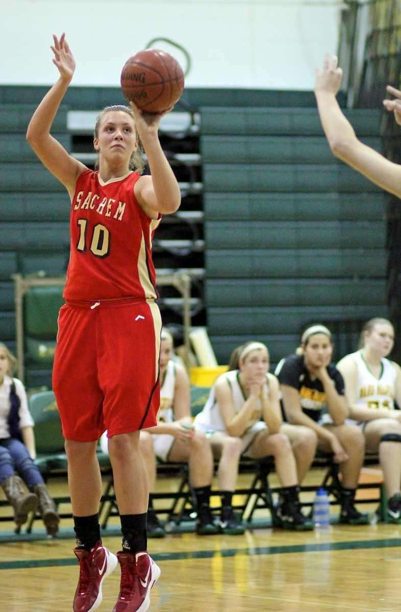 Sachem East's Kathleen Everson puts up the outside