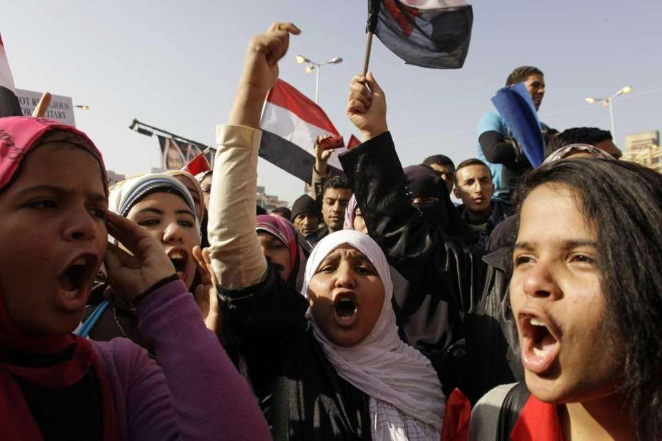 Egyptians in Cairo's Tahrir Square mark the first