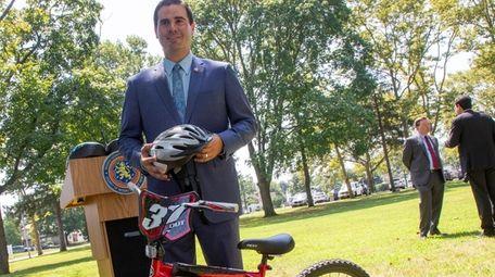 Legis. John Ferretti (R-Levittown)announces two bills regarding bike