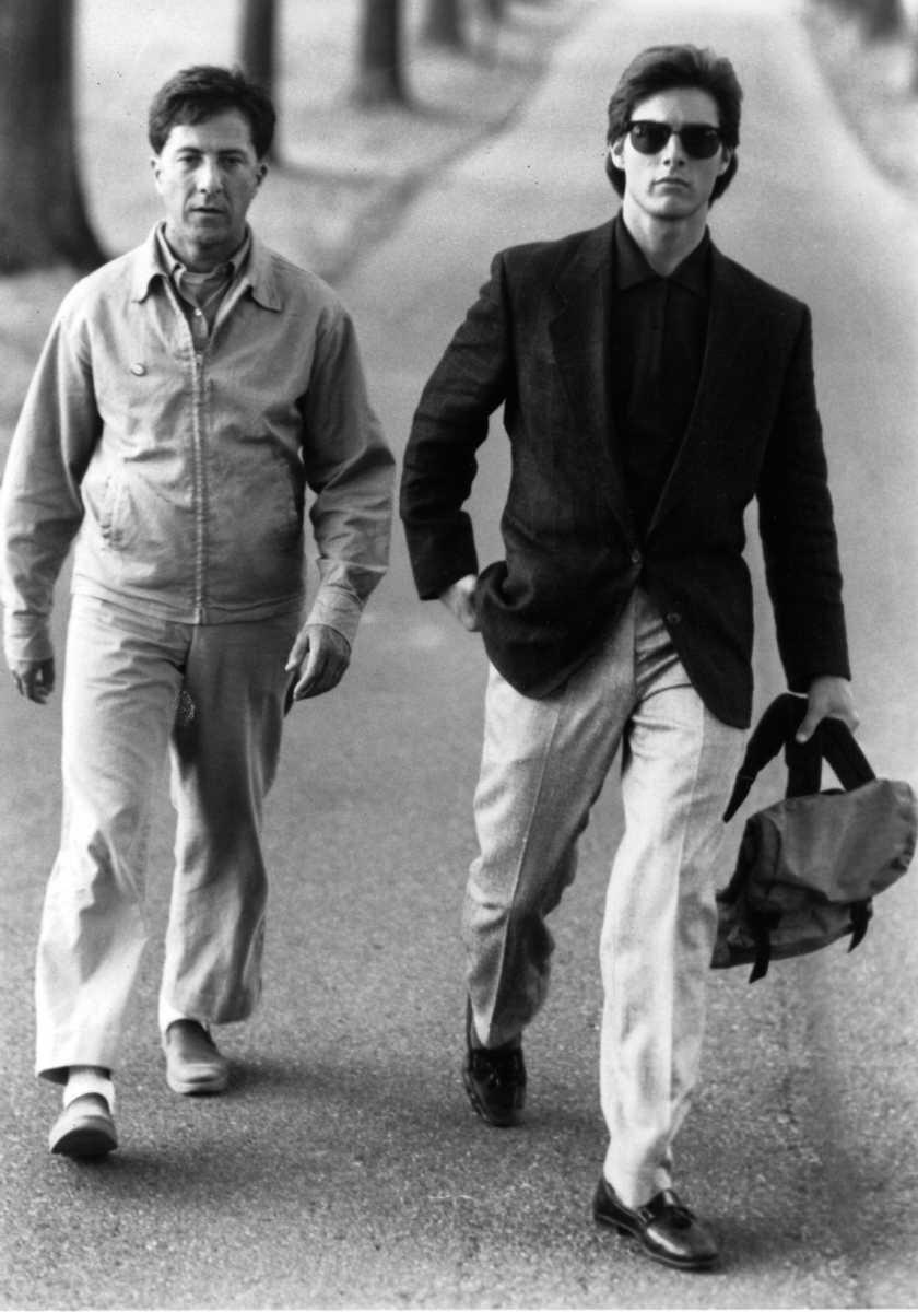 Dustin Hoffman (left) portrays Raymond Babbitt and Tom