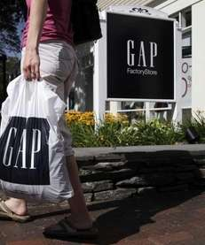 This file photo shows a shopper leaving the