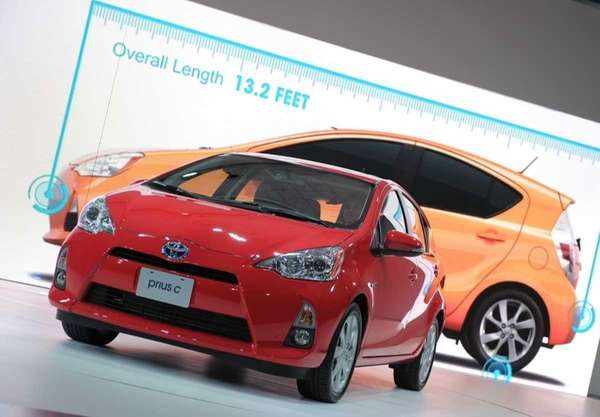The Toyota Prius C on display during the