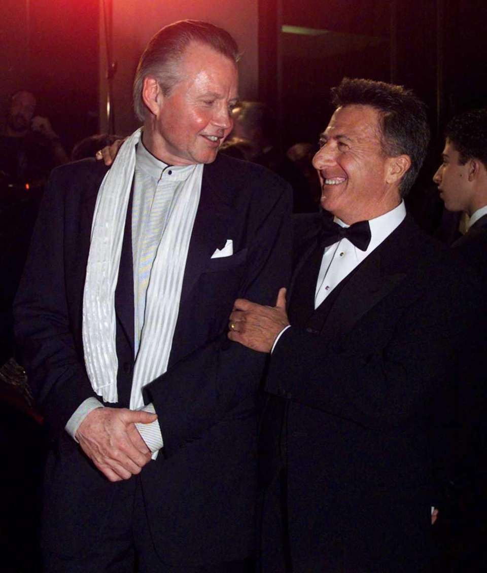Dustin Hoffman, right, shares a moment with Jon